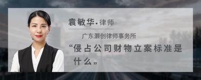 侵占公司财物立案标准是什么-袁敏华律师